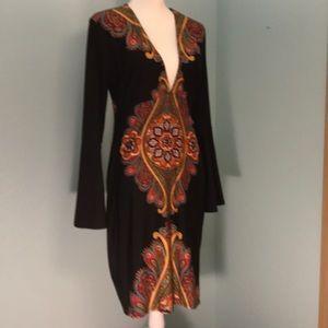 Venus bodycon dress, black w/boho print, size L